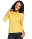 Top, Three-Quarter-Sleeve Boat-Neck