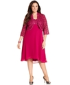 R&M Richards Plus Size Dress and Jacket, Sleeveles
