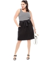 Plus Size Dress, Sleeveless Striped Belted