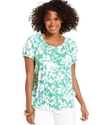Top, Short-Sleeve Printed Peasant