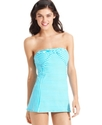 Swimsuit, Bandeau Striped Knot-Front Swimdress Wom