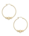 24k Gold Over Sterling Silver Earrings, 3-Bead Hoo