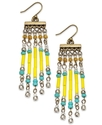 Earrings, Gold-Tone Blue and Yellow Bead Earrings