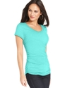 Top, Short-Sleeve Ruched Solid Tee