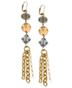 Earrings, 14k Gold-Plated Triple Chain Drop Earrin