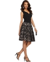 Petite Dress, Sleeveless Ruched Lace A-Line