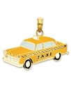 14k Gold Charm, 2D Yellow Taxi Charm