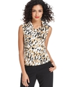 by ASL Top, Sleeveless Cowl-Neck Brushstroke-Print