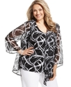 Plus Size Top, Three-Quarter-Sleeve Printed Layere