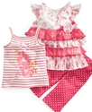 Baby Set, Baby Girls Tops and Dot Capri Pants Set