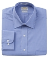 Dress Shirt, No-Iron Blue Check Long Sleeve Shirt