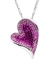 Sterling Silver Necklace, Pink Crystal Heart Penda