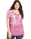 Plus Size Top, Short-Sleeve Printed Applique