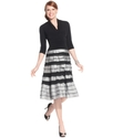 Dress, Three-Quarter-Sleeve Ruched Tiered A-Line