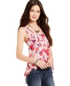 Juniors Top, Sleeveless Printed High-Low