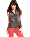 Juniors Top, Sleeveless Studded High-Low Button-Do