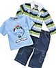 Nannette Baby Outfit, Boys Rugby Shirt, Tee and Jeans