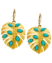 Earrings, 14k Gold-Plated Turquoise Stone Leaf Dro