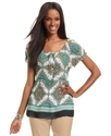 Top, Short-Sleeve Printed Scoop-Neck