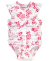 Baby Bodysuit, Baby Girls Floral Ruffled French Cr