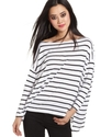Top, Three-Quarter Boatneck Striped