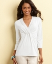 Top, Pleated V-Neck Knit