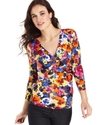 Top, Three-Quarter-Sleeve Printed Twist-Front
