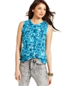 Juniors Top, Sleeveless Printed Muscle Tee