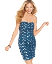 Juniors Dress, Strapless Ruched Polkadot-Print