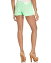 Jeans, Frayed Colored Denim Shorts, Green Wash