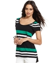 Petite Top, Short-Sleeve Striped High-Low
