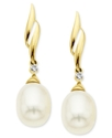 Pearl and Diamond Earrings, 14k Gold Cultured Fres