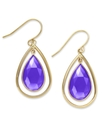 10k Gold Earrings, Pear-Cut Blue Chalcedony Teardr