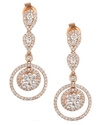 Diamond Earrings, 14k Rose Gold Diamond Double-Cir
