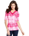 Signature Top, Short-Sleeve Printed V-Neck
