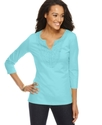 Petite Top, Three Quarter Sleeve Cotton Crochet Tu