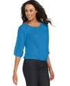 Top, Three-Quarter-Sleeve Scoop-Neck
