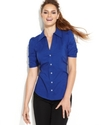 Top, Short-Sleeve Rhinestone-Button Shirt