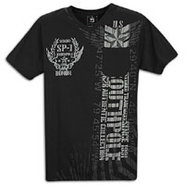 Flock Print Pocket S/S T-Shirt - Mens - Black