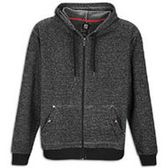 Full Zip Denim Fleece Hoodie - Mens - Black