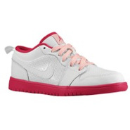 AJ1 Low - Girls Preschool - White/Voltage Cherry/P