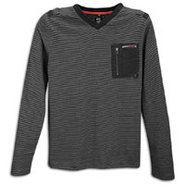 Jersey V Neck L/S Pocket Knit - Mens - Black