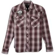 Plaid Patch Long Sleeve Woven - Mens - Pomegrante