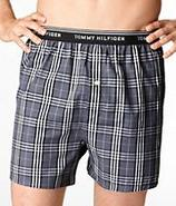 Exposed Woven Plaid Boxer Underwear