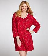Pop In Red Penguin Henley Nightshirt Plus Size Sle
