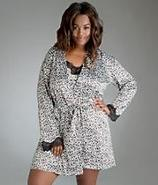Leopard Stretch Satin Short Robe Plus Size Sleepwe