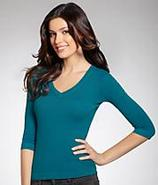 3¾4 Sleeve Deep V-Neckline T-Shirt