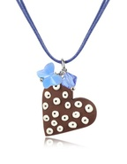 Chocolate Heart Cake Pendant w/Lace