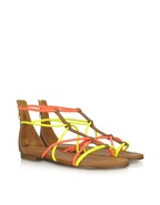 Jamaica - Neon Yellow and Orange Braided Leather F