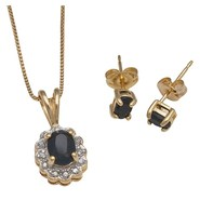 Prime Art Sapphire 18? Necklace and Earring Set - 